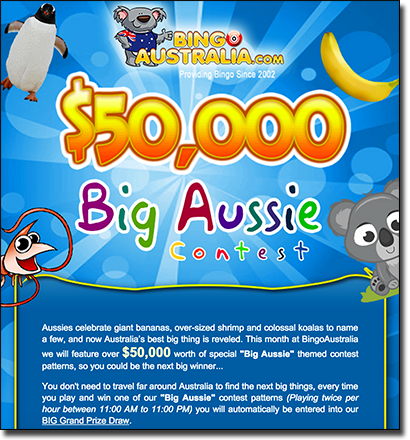 Bingo Australia - Win huge cash promos